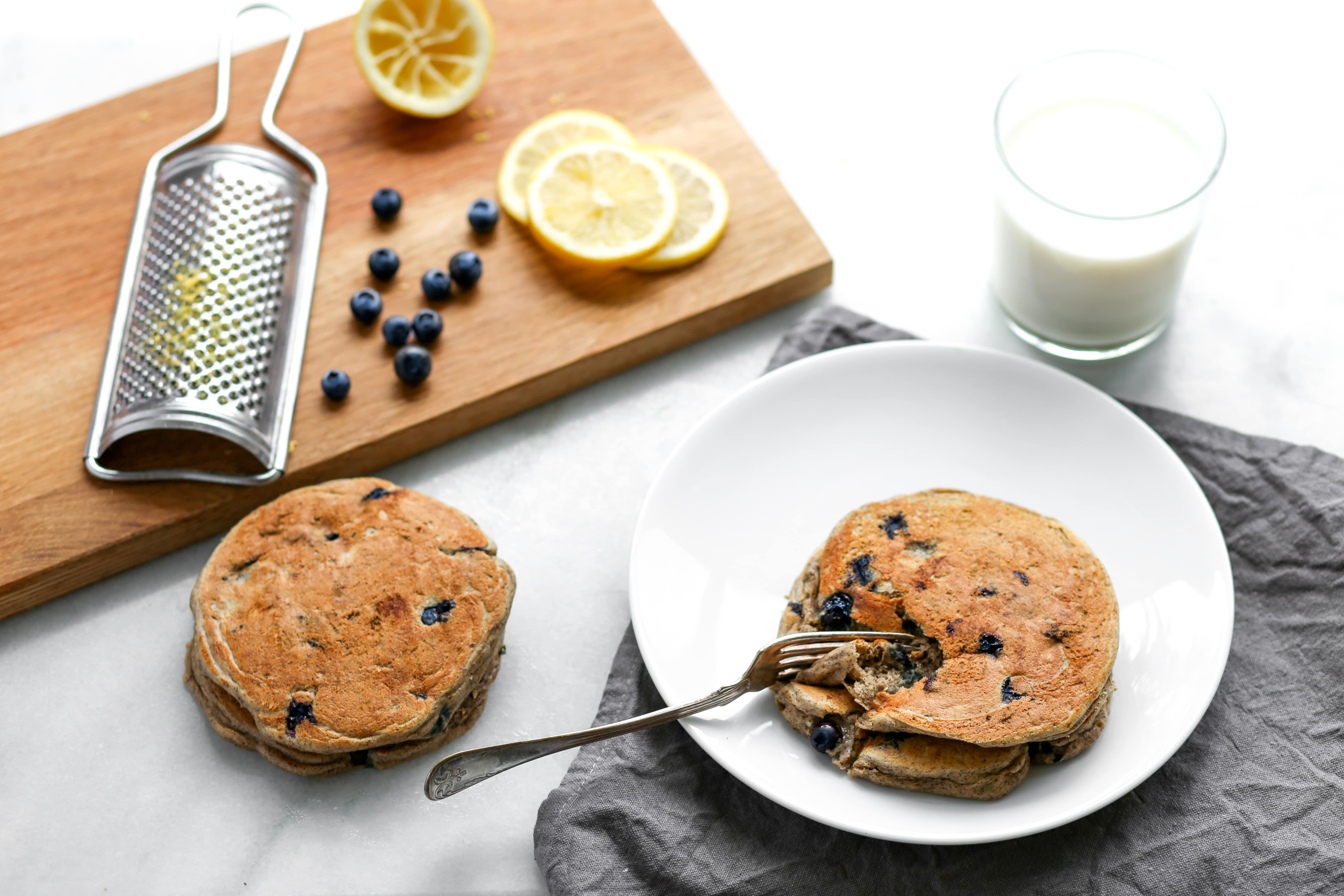 Lemon-Blueberry Buckwheat Ricotta Pancakes