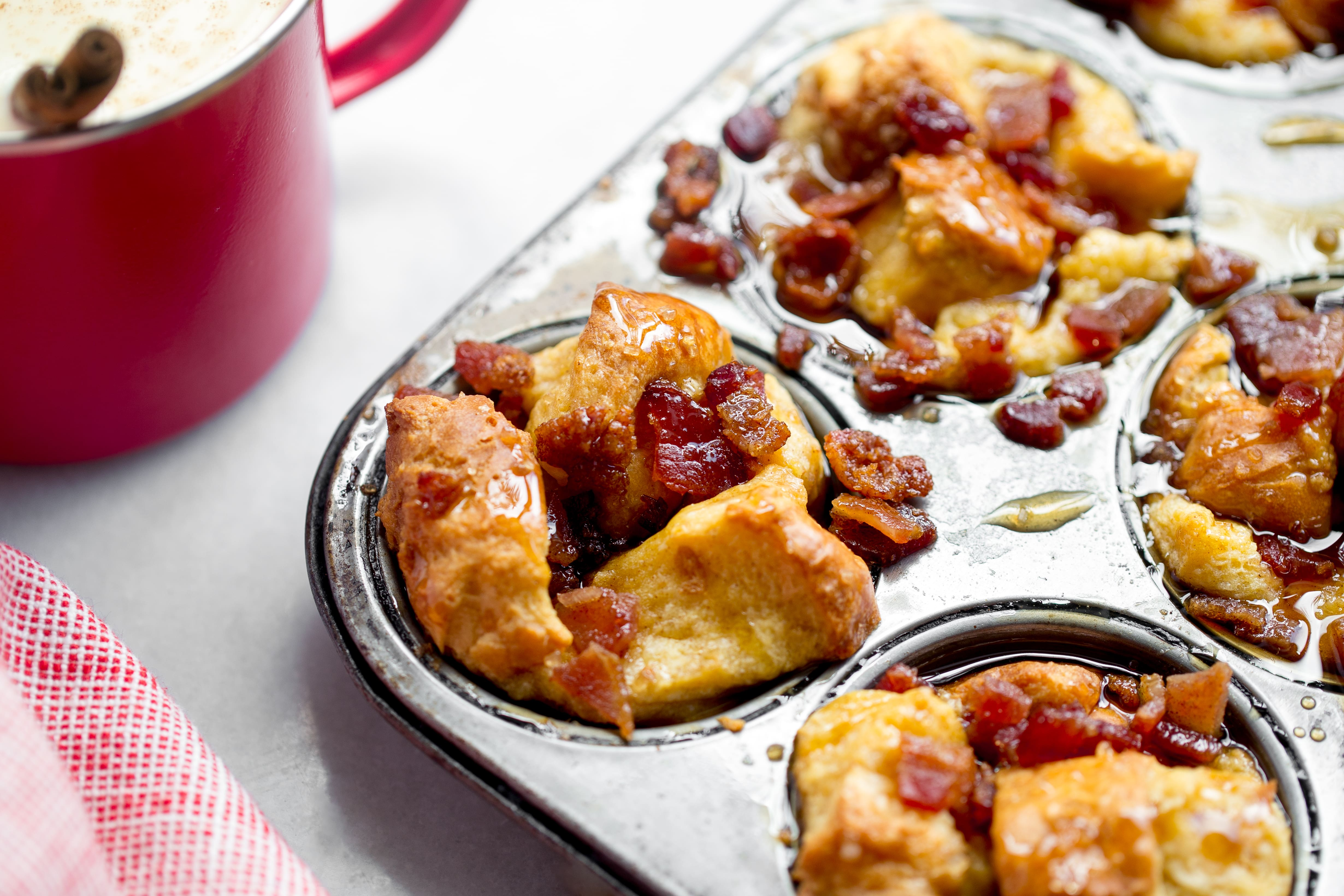 Eggnog French toast muffins with candied bacon recipe