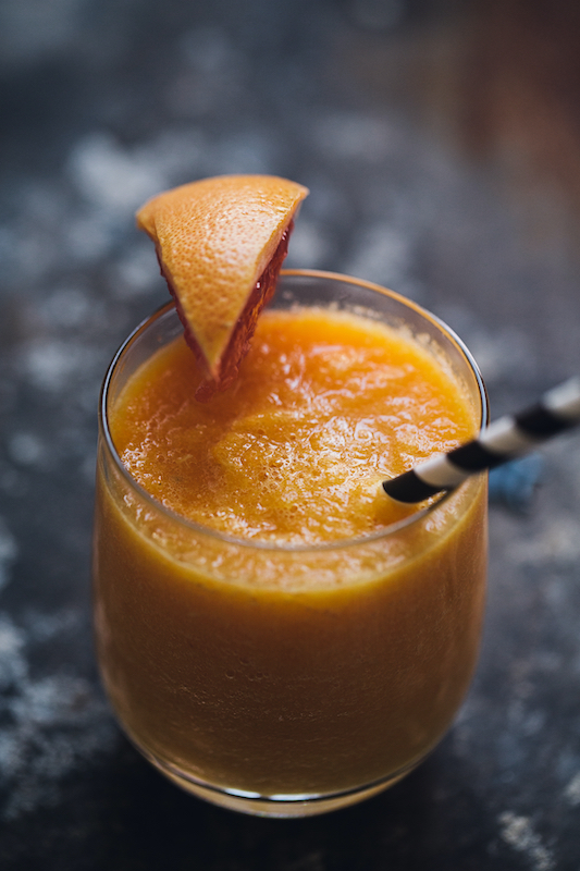 Tropical turmeric smoothie made with real milk